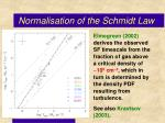 normalisation of the schmidt law