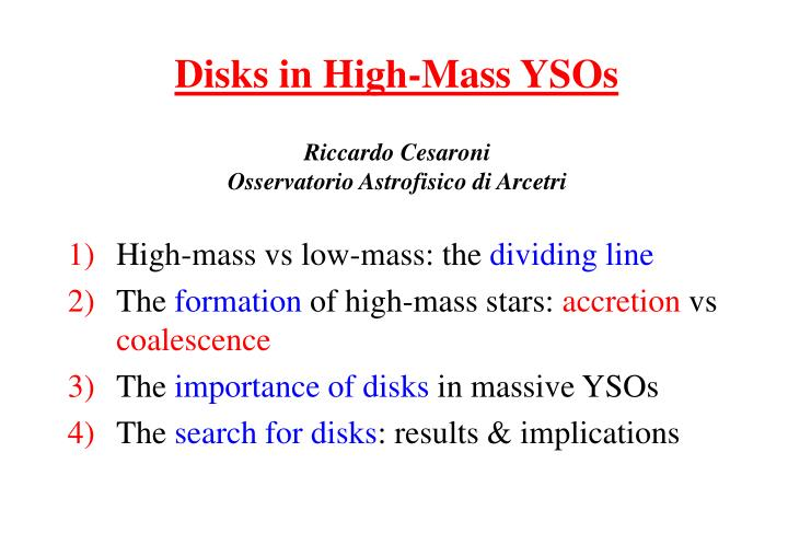 disks in high mass ysos n.
