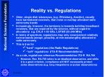 reality vs regulations