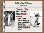 golden age of sports tennis golf