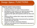 design specs functions