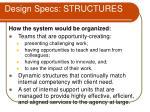 design specs structures