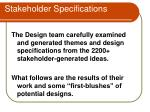 stakeholder specifications