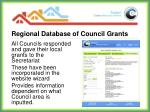 regional database of council grants