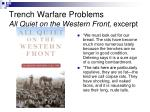 trench warfare problems all quiet on the western front excerpt