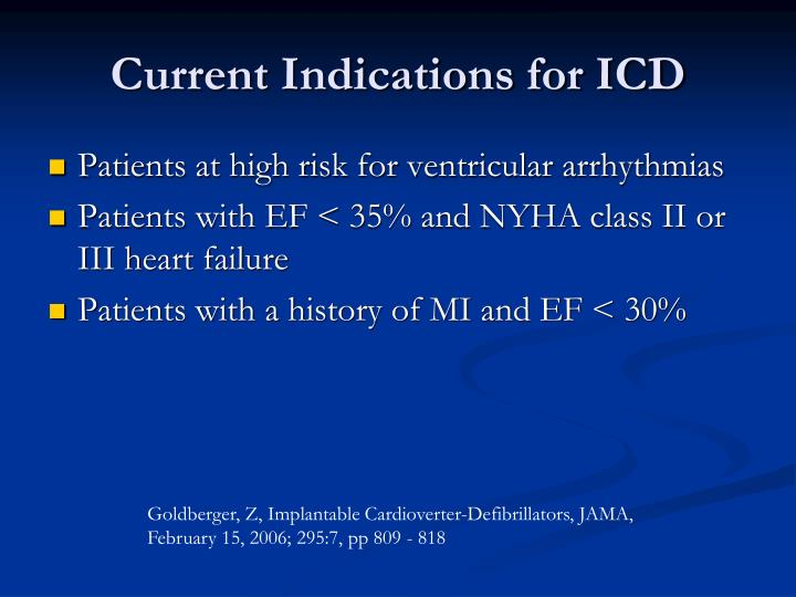 Current Indications for ICD