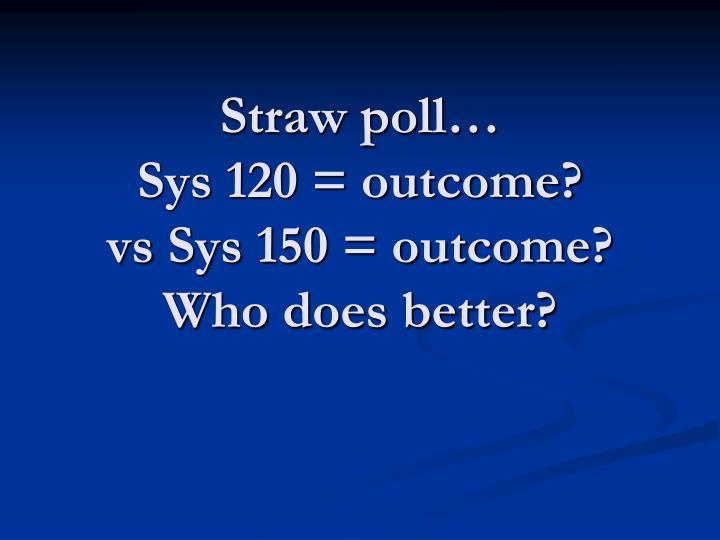 Straw poll…