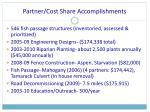 partner cost share accomplishments