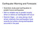 earthquake warning and forecasts