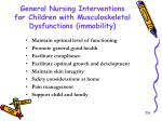 general nursing interventions for children with musculoskeletal dysfunctions immobility