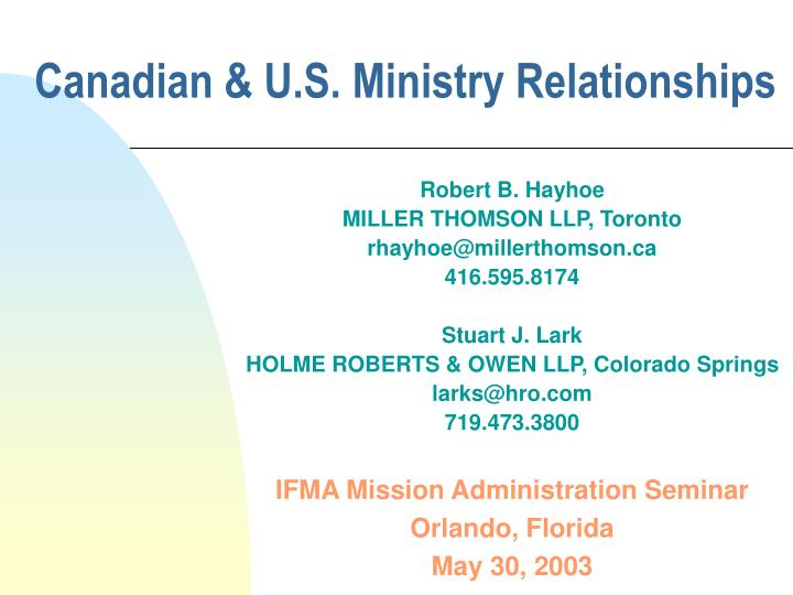 canadian u s ministry relationships n.