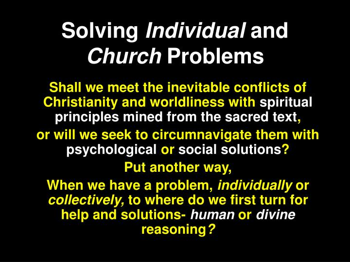 solving individual and church problems n.