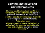 solving individual and church problems