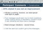 participant comments constructive