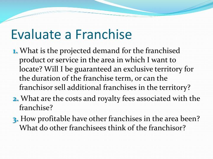 Evaluate a Franchise