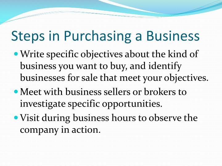 Steps in Purchasing a Business