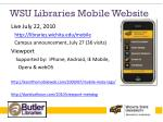 wsu libraries mobile website
