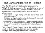 the earth and its axis of rotation