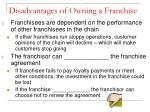 disadvantages of owning a franchise1