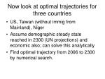 now look at optimal trajectories for three countries
