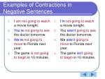 examples of contractions in negative sentences