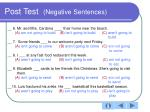 post test negative sentences