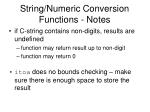 string numeric conversion functions notes