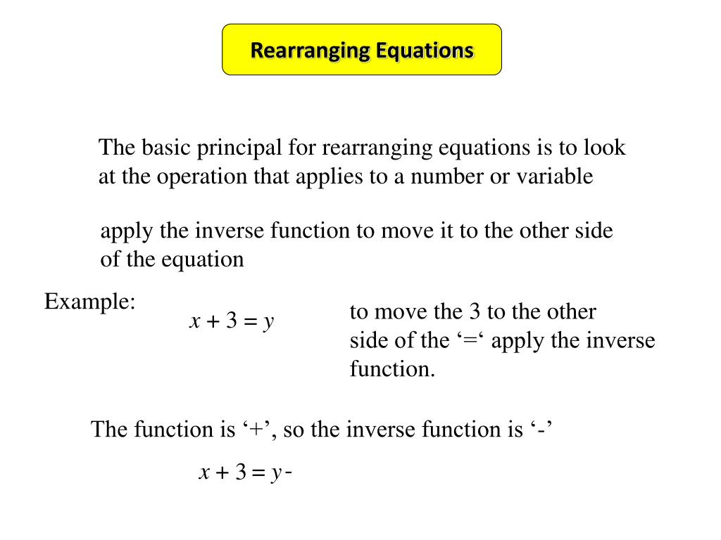 PPT - Rearranging Equations PowerPoint Presentation - ID:4555038