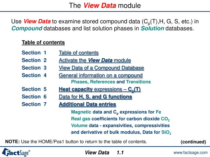 the view data module n.