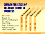 characteristics of the legal forms of business