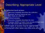 describing appropriate level