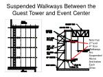 suspended walkways between the guest tower and event center