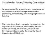 stakeholder forum steering committee