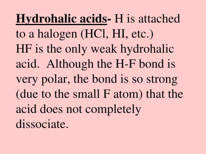 Hydrohalic acids