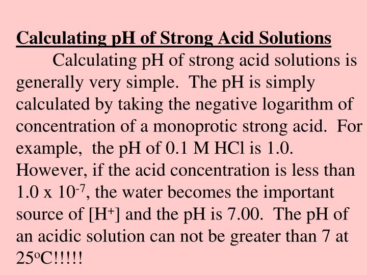 Calculating pH of Strong Acid Solutions