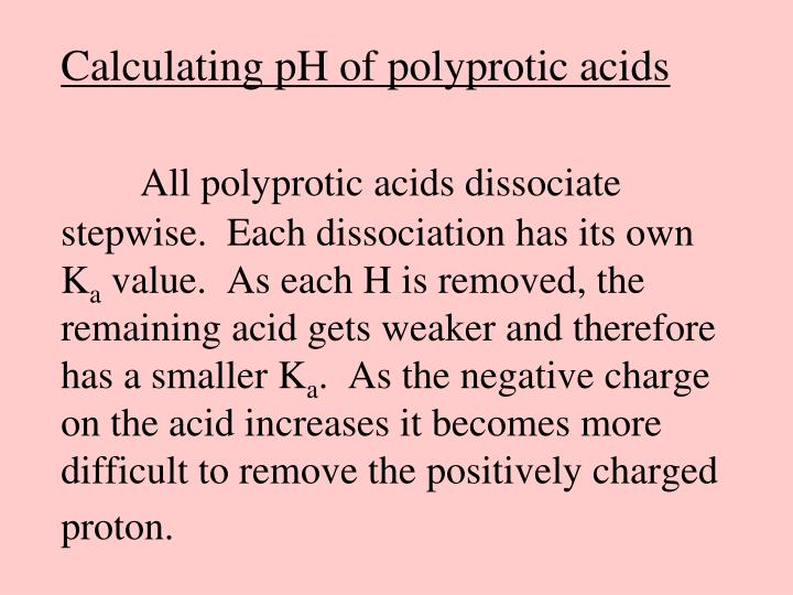 Calculating pH of polyprotic acids
