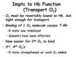 imptc to hb function transport o 2