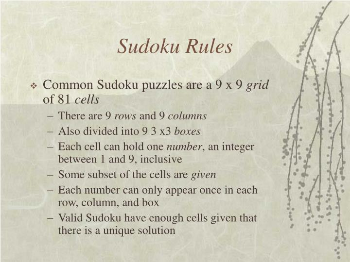 Sudoku rules