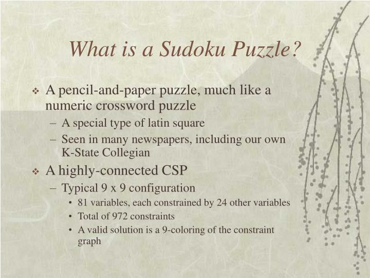 What is a sudoku puzzle