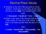 decimal place values