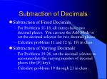 subtraction of decimals