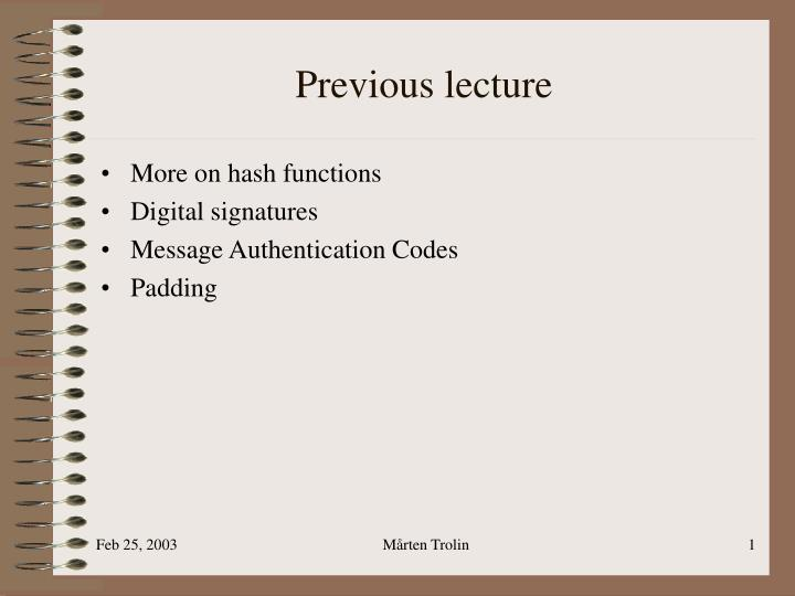 previous lecture n.