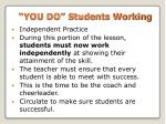 you do students working