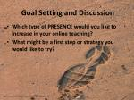 goal setting and discussion