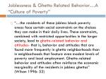 joblessness ghetto related behavior a culture of poverty