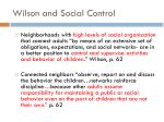 wilson and social control