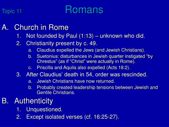 topic 11 romans n.