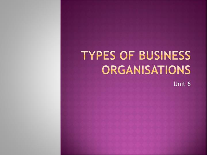 types of business organisations n.