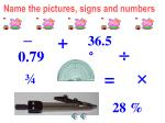 name the pictures signs and numbers