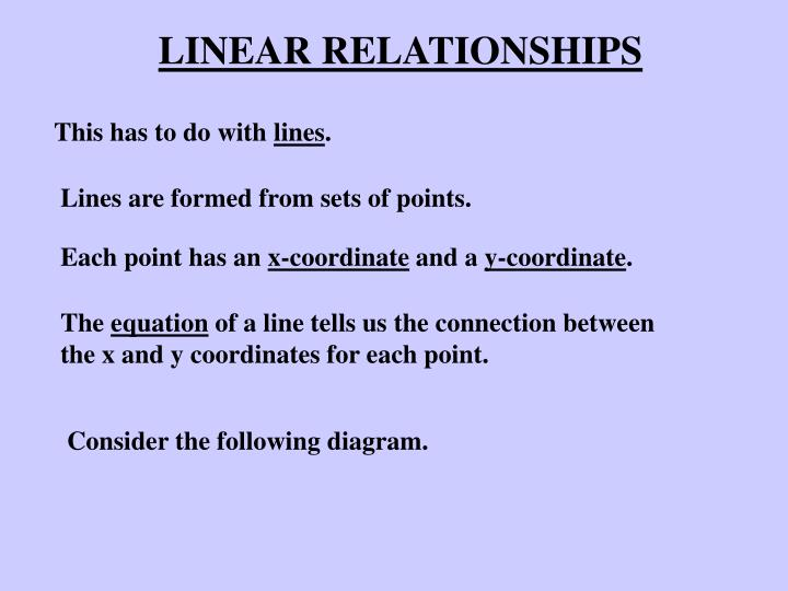 linear relationships n.